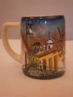 Colorful Scenic Mug, Hand Painted in Guatemala, 16 oz, Town, Pueblo, Mountain