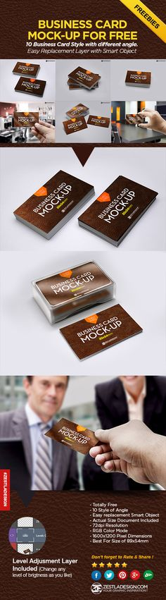 Beautiful free psd business cards mockup with 10 styles from different angle, thanks to Zestladesign.