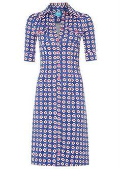 Tante Betsy dress HAPPY BLUE clover / flot blå firkløver-kjole