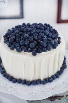 Simple Blueberry Wedding Cake | Souder Photography
