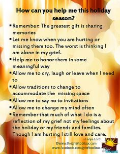 How can you help me this holiday season | The Grief Toolbox