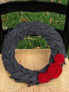 wool sweater wreath, velvet roses   Kristenelisedesigns.blogspot.com