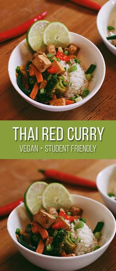 With the temperature dropping more and more each day, this week I decided to make a flavourful Thai red curry. This curry is not only vegan and comforting, but it's student friendly (easy on the wallet and quick to make)! Vegan Thai Curry, Thai Curry Paste, Thai Red Curry, Vegan Recipes Easy, Vegetarian Recipes, Vegan Friendly, Coconut Milk, Tofu, Protein