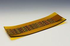 17 Amber Tapestry Tray: Richard Parrish: Art Glass Tray - Artful Home