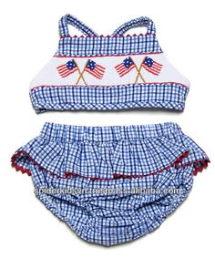 infant/Toddler Girl Blue Smocked Baby America Flag - Bikini  - 100% cotton and smocked   - For 12 months to 8 years old