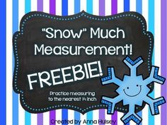 """In this sample you will find 1 worksheet and answer key to give students a chance to practice measuring to the nearest 1/4 inch.   If you like the activities in this freebie, then be sure to check out the complete product: """"Snow"""" Much Measurement!"""