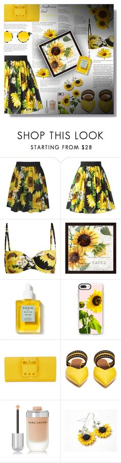"""Sunflowers Girl!"" by sarahguo ❤ liked on Polyvore featuring Alice by Temperley, Dolce&Gabbana, Rodin Olio Lusso, Casetify, Perrin, Roksanda, Marc Jacobs and Krewe"