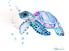 Hey, I found this really awesome Etsy listing at https://www.etsy.com/listing/185138694/sea-turtle-original-watercolor-painting:
