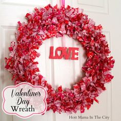Valentine's Day Fabric Wreath. So cute and easy to make!