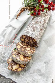 Peanut Butter Chocolate Salami Cookies: Peanut Butter Chocolate Salami Cookies are a take on the Italian / Portuguese treat. Full of crunchy cookies, sweet peanut butter candies & salty peanuts. Salami Recipes, Candy Recipes, Sweet Recipes, Cookie Recipes, Dessert Recipes, Xmas Recipes, Xmas Food, Christmas Cooking, Christmas Desserts