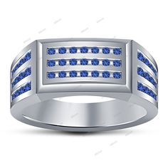14Kt White Gold Finish 925 Silver Round Blue Sapphire Men's Wedding Ring 0.51 CT #Affoin8 #MensWeddingRing