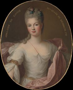 """""""Marie Adélaïde de Savoie, Duchesse de Bourgogne"""" by Pierre Gobert (1710) at the Metropolitan Museum of Art, New York - From the curators' comments: """"Born in 1685, Marie Adélaïde was the daughter of Vittorio Amedeo II (1666–1732) of Savoy and Anne Marie d'Orléans (1669–1728), niece of Louis XIV (1638–1715). Marie Adélaïde's parents were second cousins and she in turn married, in 1697, her second cousin, Louis, duc de Bourgogne (1682–1712), eldest son of Louis, le Grand Dauphin (1661–1711)."""""""