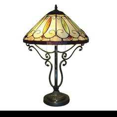 """Table Lamp 2 Light Stained Glass Tiffany Vintage Style Metal Scroll 16""""D X 24""""H #SerenaDitalia #StainedGlass"""