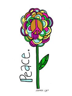 ➳➳➳☮American Hippie Art - Peace Flower