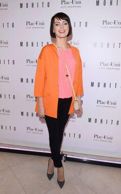 Dorota Gardias wearing Mohito orange blazer #mohito #fashion
