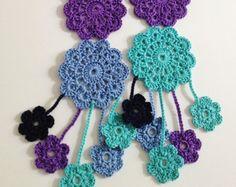 Azul posavasos ganchillo bufanda de verano