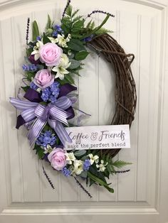 Nothing goes better with coffee than a great friend. What better way to let them know it, than with a beautiful floral wreath, featuring roses, lilies, lavender and more. Now available in my Etsy shop. Wreath Boxes, Diy Wreath, Grapevine Wreath, Wreath Ideas, Wreath Making, Wreath Crafts, Mothers Day Wreath, Mothers Day Presents, Front Door Decor
