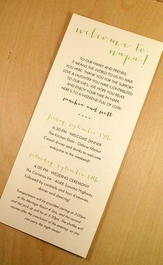 Wedding Weekend Printed Wedding Itinerary Printed and