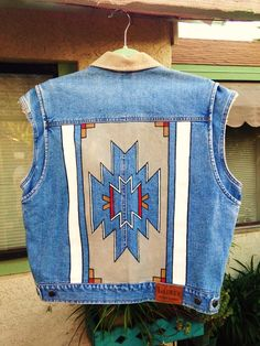 Southwestern motif custom painted on denim Ralph Lauren vest by @bleudoor on Instagram