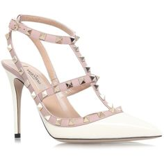 Valentino Garavani Leather Rockstud Pumps 100 ($850) ❤ liked on Polyvore featuring shoes, pumps, pointy-toe pumps, pointy toe shoes, genuine leather shoes, pointed-toe pumps and leather pointed toe pumps