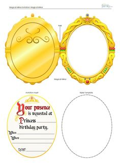 Printable Fancy Hand Mirror Shape Template Princess