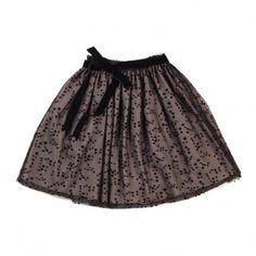 Mimi Stars Skirt in Tulle Noir  Talc