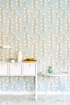 Majvillan Wallpaper in Sweet Cotton Soft Blue. A fun wallpaper that is great in an adult or kids room or bathroom. Stunning Wallpapers, Blue Wallpapers, Beautiful Wallpaper, Nursery Wallpaper, Kids Wallpaper, Brown Wallpaper, Wallpaper Patterns, Pastel Walls, Wallpaper Stores