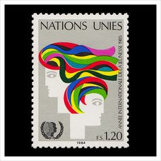 United Nations Postage Stamp – International Year of Youth, Geneva 1984 Postage Stamp Design, Postage Stamps, Peace Poster, Money Notes, Going Postal, Love Stamps, Small Art, United Nations, Stamp Collecting