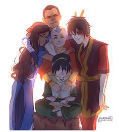 some gaang group hug - by nikadonna - Team Avatar