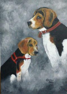 Retrato a óleo dos meus beagles Pitoko e Pipoka.