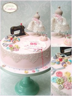 A teapot cake brings a wonderful surprise factor to any tea party or birthday celebration. The tradition of afternoon tea has made a welcome return! Sewing Cake, Sewing Machine Cake, Fondant Cake Designs, Fondant Cakes, Knitting Cake, Tea Party Cupcakes, Pumpkin Tea, Teapot Cake, Different Cakes