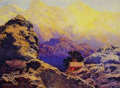 """Getting away from it all"", Oil by Maxfield Parrish (1870-1966, United States)"
