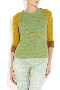 ROCHAS  Cable and waffle-knit wool sweater