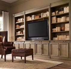 Drake barrel back chair built in shelves, built in tv wall unit, built in t Built In Tv Cabinet, Built In Shelves, Built Ins, Tv Shelving, Built In Entertainment Center, Entertainment Room, Built In Media Center, Entertainment Products, Entertainment System
