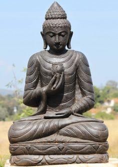 "Stone Buddha Statue Holding a Lotus Flower 38"""
