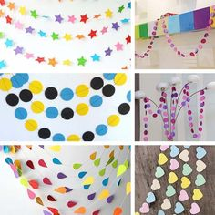 Hanging Paper Garlands Wedding Party Birthday Decorations Round Heart Star Shape #Unbranded #Anniversary