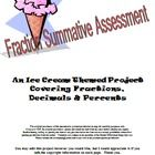 This is a three page summative assessment/project with an ice cream theme. It may be given as a final test or as a summative project. The nine questions use three levels of Bloom's Taxonomy and cover the main points of fractions, decimals, and percents. Specific directions are provided, and three boxes of a sample project are included as well as the answer key and a grading rubric. Students may present the project in a variety of ways, including a power point.  Answer key is included. $$$