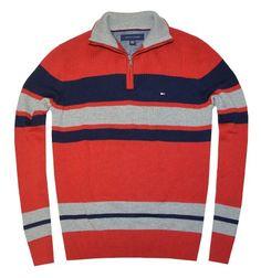 Tommy Hilfiger Men Half Zip Stripe Mock Neck Logo Sweater $44.99 (43% OFF)