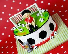 I like this soccer cake Cake Football, Football Themes, Football Birthday Cake, Soccer Birthday Parties, Boy Birthday, Soccer Party, Fondant Cakes, Cupcake Cakes, Sports Themed Cakes