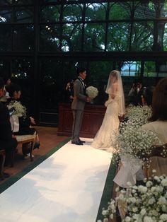 新郎新婦様からのメール リストランテASOの花嫁様、カスミソウのブーケ : 一会 ウエディングの花