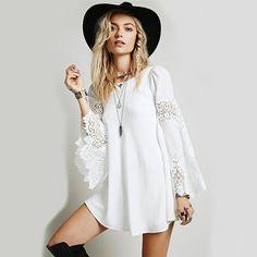 2016 chiffon lace stitching loose long-sleeved A-line dress Women Hippie Boho Bell SleevesHoliday Lace Mini Dress
