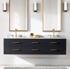RH's Hutton Double Floating Vanity Base:This versatile collection brings a spare, Parsons-like sensibility to the bath. Zen Bathroom, White Bathroom, Bathroom Storage, Bathroom Ideas, Bathroom Organization, Minimal Bathroom, Black Vanity Bathroom, Bath Ideas, Bathroom Cleaning