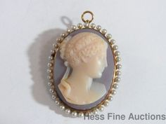 Exquisite High Relief Hardstone Cameo 14K Gold Seed Pearl Civil War Pin Pendant