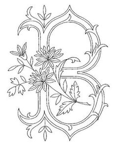 Alphabet A - Album photos - Broderie d'Antan Embroidery Alphabet, Embroidery Monogram, Embroidery Transfers, Ribbon Embroidery, Embroidery Stitches, Embroidery Designs, Colouring Pages, Adult Coloring Pages, Coloring Books