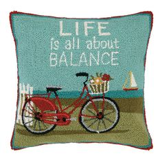 Life is All About Balance Hook Pillow: Beach Decor, Coastal Decor, Nautical Decor, Tropical Decor, Luxury Beach Cottage Decor