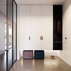 Entrance Wood & Concrete on Behance What Is An Outdoor Bonsai? Design Hall, Flur Design, Entrance Foyer, House Entrance, Minimalist Home, Minimalist Design, Wood Concrete, Shoe Cabinet Design, Decoration Entree