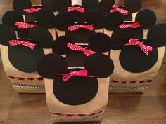 Disney treat bags that I made for Britt's bachelorette party. Minnie Mouse goodie bags for Disneyland snacks!!  #TierneysPinterestSuccess
