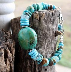 Turquoise, Peruvian Blue Opal Handcrafted Artisan Sterling Bracelet