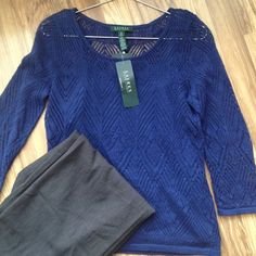 """Ralph Lauren knit top Linen blend makes this perfect for spring/ summer. Indigo blue open knit pattern. Comes with tank shell for lining. Sweater is 57% linen / 43% cotton. Lining is 84% nylon / 16% elastane. 25"""" long /  18"""" armpit to armpit/ 21"""" sleeves. Ralph Lauren Sweaters Crew & Scoop Necks"""