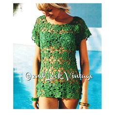 Vintage 1970s Crochet Pattern Lacy Flower Beach Cover Up Mini